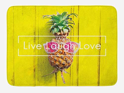 TKMSH Live Laugh Love Bath Mat, Tropical Pineapple Fruit with Sunglasses on Yellow Wood Board Joyful Print, Plush Bathroom Decor Mat with Non Slip Backing, Multicolor,15.7X23.6 inch/40 * 60cm Cabin Cutting Board