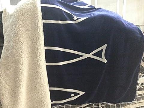 MZMZ-Plus den Fisch auf beiden Seiten des großen 5-Stern Kreuz doppel Decke Kaschmir-decke Flanell, 7,150cm X 200cm