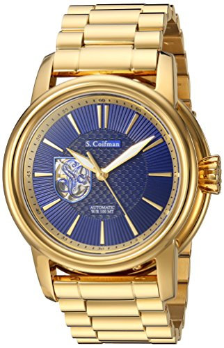 S.COIFMAN MEN'S GOLD-TONE STEEL BRACELET & CASE AUTOMATIC ANALOG WATCH SC0424