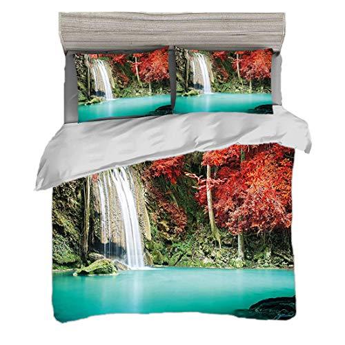 Bettwäscheset (200 x 200 cm) mit 2 Kissenbezügen Wasserfall Digitaldruck Bettwäsche Einzelner Wasserfall in der Ecke des tiefen Waldes mit Eichen im schönen Herbst,Braun, Pflegeleicht antiallergisch w -