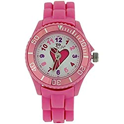 Jo For Girls Analogue Pink Heart Silicone Strap Girls Fashion Watch JW006