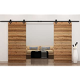 Hahaemall 10FT/120 Black Interior Rustic Double Steel Sliding Barn Door Hardware Closet Track System Rolling Kit by Hahaemall