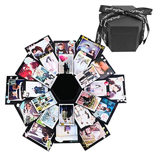 Memory Album Scrapbooking (Kreative schwarze Explosionsbox, DIY Fotoalbum, Überraschungsbox, Love Memory Scrapbooking Geschenk-Box für Geburtstag, Weihnachten, Jahrestag, Hochzeit, Valentinstag)