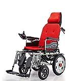 RZBB Leichter, Faltbarer Elektrorollstuhl Mit Verstellbarer Rückenlehne Und Tragbarem Transit-Fahrstuhl Mit Zwei Leistungsstarken Motoren Für Behinderte Und Ältere Menschen,Orange