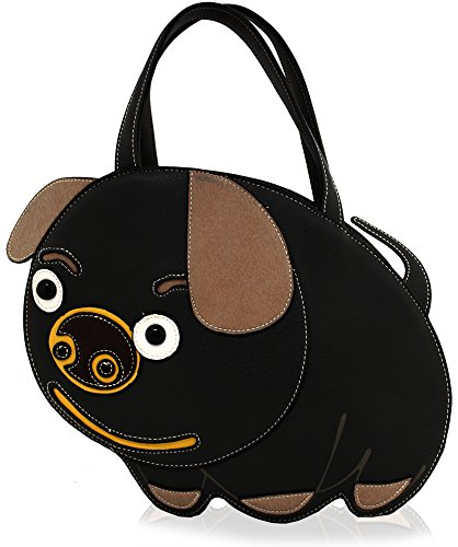 Kukubird Animal PIG Shape Faux Leather Handbag BLACK