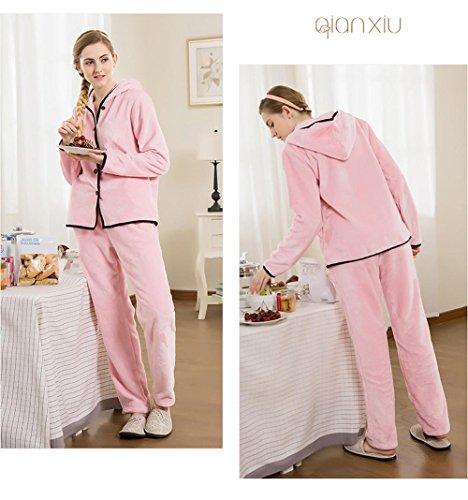 Manches longues flanelle capuche pyjamas sortie hiver lingerie de nuit dernières femmes qui peut être porté à l'extérieur Pink