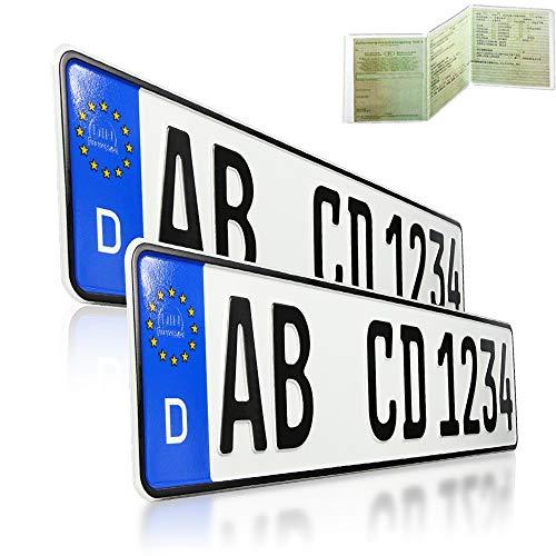 2 x EU KFZ Nummernschilder Autoschilder Kennzeichen ALLE AUTOMARKEN mit individueller Prägung nach Ihren Vorgaben. BEI BESTELLUNGEN BIS 14:00 UH Versand AM GLEICHEN WERKTAG