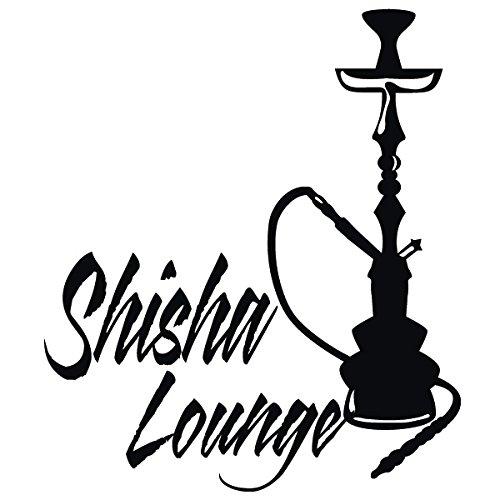 Wadeco Shisha Lounge Wandtattoo Wandsticker Wandaufkleber 35 Farben verschiedene Größen, 38cm x 44cm, schwarz