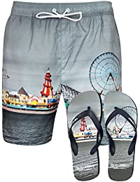 Tokyo Laundry Men's Fairground Printed Swim Shorts in Grey with Free Matching Flip Flops Size S- XL
