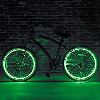 EL Wire Bicycle Spoke Light, Cool Neon Light Bike Safety Tire Wheel Accessories, Light Up Spokes, Full Waterproof, Easy Install, Perfect Gift for Kids Adults (Green)