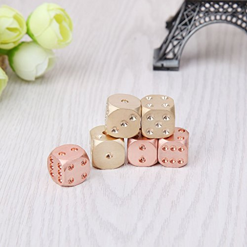 Lergo Copper Alloy Dice Polyhedral Metal Solid Club Bar Game Tool Lucky Brass Dices