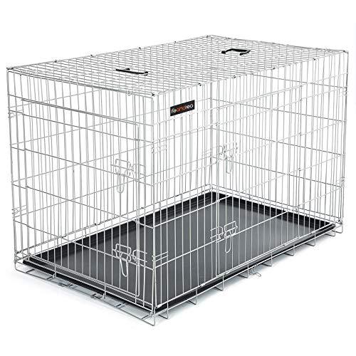 FEANDREA HundeKäfig 2 Türen faltbar Hundebox Gitterbox TransportKäfig DrahtKäfig Katzen Hasen Nager Kaninchen Geflügel Käfig L - XXXL (122 x 76 x 81 cm, Silber)