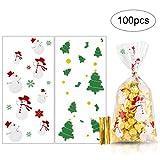 MELLIEX Weihnachten Süßigkeiten Tüten, 100 Stück Cellophantüten Candy Bar Tütchen mit 100er Twist Krawatten für Bonbon Plätzchen Süßigkeiten