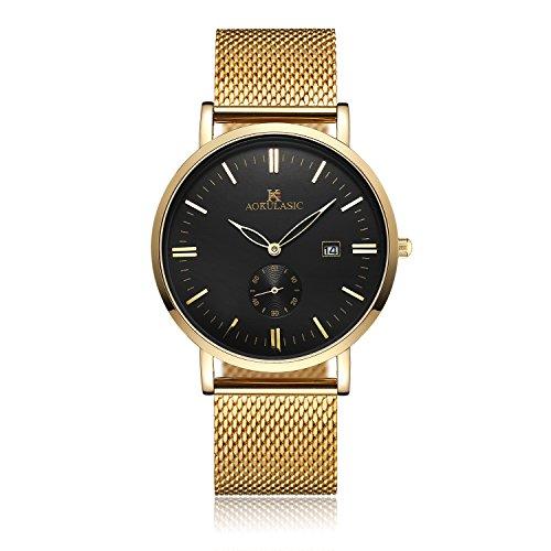Männer Gold-armband Schwarz-und Für (Yevita Armbanduhr Herren klassische Armband Uhr Edelstahlarmband Wasserdicht mit Kalender Und Sekundenzeiger Gold Schwarz)