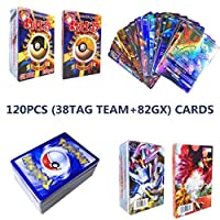 120 GX Pokemon Cards, Pokemon GX Cards, Pokemon Flash Card, Trading Card, Puzzle Fun Card Game (38TAG TEAM+82GX)