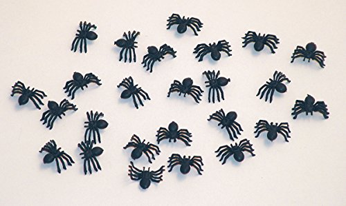 25 Halloween Deko Spinnen 2cm schwarz (Halloween Spinne Dekoration)