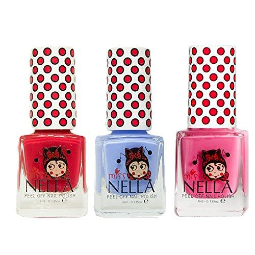 Miss Nella Schaukel rosa A Boo, blau Bell, Strawberry 'n 'cream spezielle Glitzer Kinder Nagellack mit Peel Off auf Wasserbasis Formel -