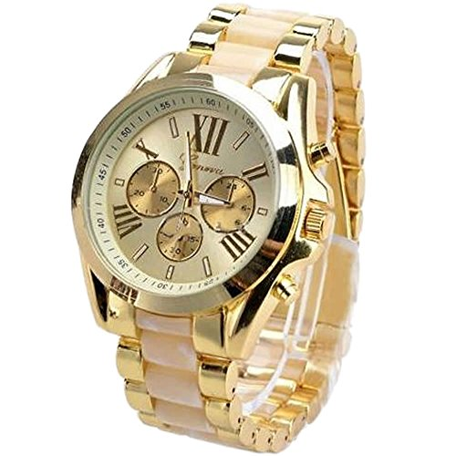 HeroNeo® Luxury Men Classic Stainless Steel Gold Dial Quartz Analog Bangle Wrist Watch (Camel)