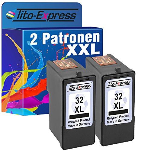 Tito-Express PlatinumSerie 2X Tinten-Patrone für Lexmark 32 XL Black X3310 P4000 P4250 P4310 P4330 P4350 P4360 P6200 (Tintenpatronen Für X5470 Lexmark)