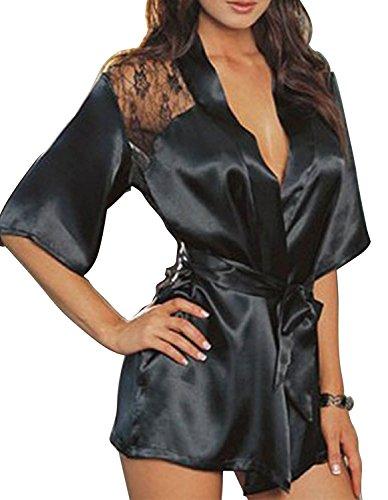 Creamlin Seide Spitze Kimono Robe, Frauen Sexy Nacht Kleid Bad Dessous Kleid Nachtwäsche (L) (Baby Seide Kleid)