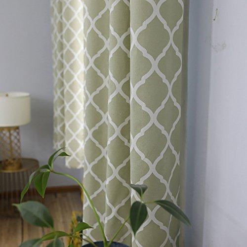 Vorhänge und Vorhänge Kurzer Vorhang Verdunkelungsvorhänge Geometrie Prismatisch Grün Stoff Drucken zum Fensterdekorationen Fertige Vorhänge Tülle oben Ein Panel 140 * 215 cm - Grüne Vorhang Rod