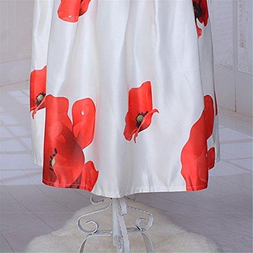 Eleganten Frauen Blume gedruckt elastische Taillen Big Rand Rock Bouffant Midikleid Weiß