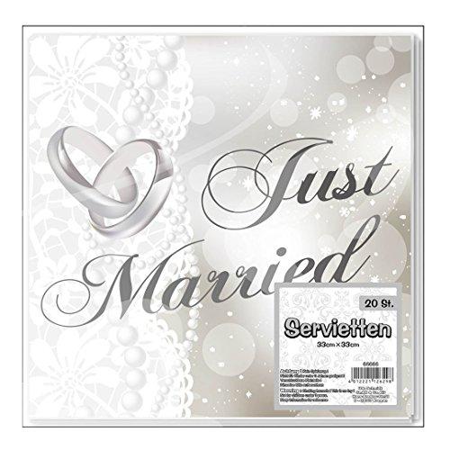 """Serviette """"Just Married"""", 20-tlg. Papier, 33 x 33 cm"""
