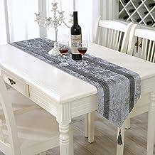 Simple de lujo mesa de comedor de rayas de lentejuelas camino de mesa camino de mesa de café cama toalla, Gris, 33 cm x 210 cm