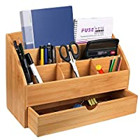 Hossejoy Bamboo Office Desk Organizer & Mail Rack with Storage Drawer - Desktop Mail Sorter for Office and Home - Keep Mail, Letters, Files, Office Supplies Neat & Organized