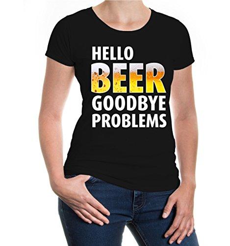 buXsbaum® Girlie T-Shirt Hello Beer, Goodbye Problems Black-z-direct