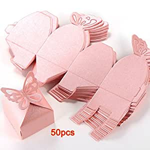 SODIAL(R) 50pcs Papillon Decoration Boite a Dragees Mariage Bapteme Decoration Naissance Rose