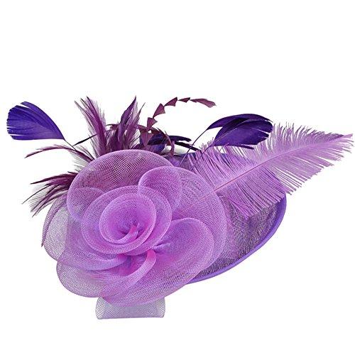 UJUNAOR Mode Frauen Mesh Hut Bänder Federn Hochzeit Party-Hut Gaze Braut Kopfschmuck Garn Hüte(Lila)