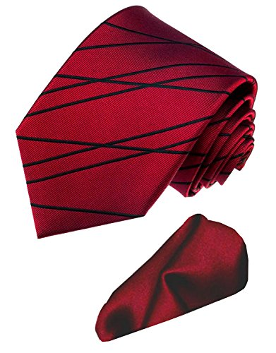 LORENZO CANA - Marken Set aus 100% Seide - Dunkelrote Krawatte mit schwarzen Linien und uni rotem Einstecktuch - 8450901 (Linie Seide Fliege)