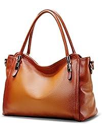 Women'S Vintage Genuine Leather Handbag By Coolcy Tote Shoulder Bag For Ladies Large Capacity (Sorrel)