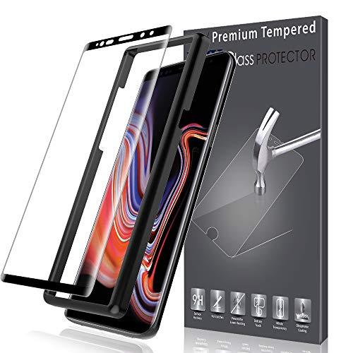 K&L LK Schutzfolie für Samsung Galaxy Note 9, Panzerglasfolie für Galaxy Note 9 [Alignment Frame Einfache Installation] [Bubble Free] - [1 Pack] Schwarz