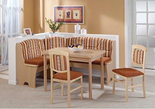 Beauty.Scouts Eckbankgruppe 'Josef' Essgruppe 170 x 130 x 89 Tisch 2 Stühle modern Buche Dekor braun Eckbank Küchentisch 4-teilig Landhaus Küche
