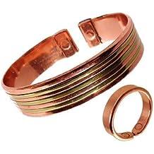 5b4cb2f44c71 Brazalete de Cobre Magnético para Dama o Caballero con Diseño de Líneas y  Anillo Efecto Liso