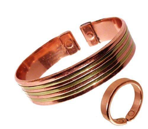 Armreifen Und Ring Set Kupfer Mit Messing Glatter Kupferring In Geschenkbox - Mittelgroßer Ring: 19-21mm