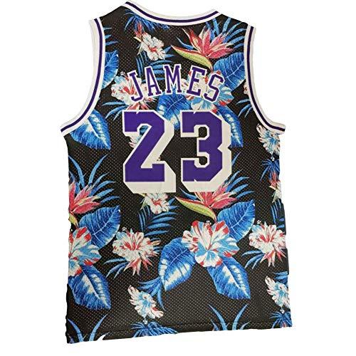 KKSY Basketball Trikot Herren Lakers # 23 James Fashion Floral Version Vintage Fitness Weste Sportoberteil,S
