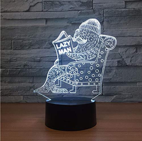 Walross 3D Led Lampe USB Powered 7 Farben Erstaunliche Optische Täuschung Nachtlicht Lampe Baby Sleepping Licht Kinder Geschenke
