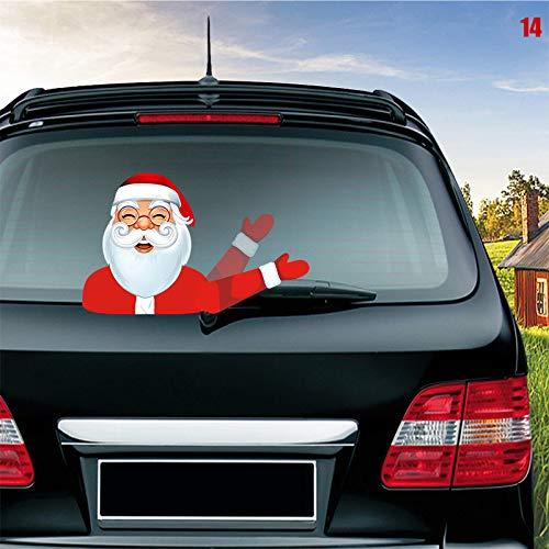 Syfinee Christmas Santa and Reindeer Waving Wiper Decal Car Rear Wiper Decal Sticker Windshield Christmas Santa Claus Waving Decor Ornament for Rear Window 3D Cartoon Festive Car Sticker Vinyl Decal -