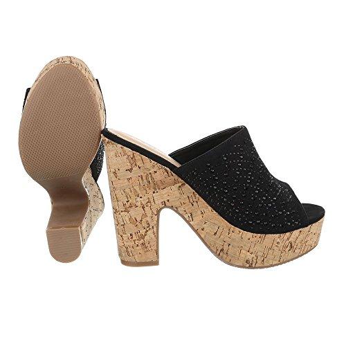 7dfb116a7f731e Pantoletten Damen Schuhe Jazz   Modern Pump Strass Besetzte Ital-Design  Sandalen   Sandaletten Schwarz ...