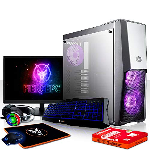 Fierce Avenger High-End RGB Gaming PC Bundeln - Schnell 4.3GHz Hex-Core Intel Core i5 8600, 480GB SSD, 16GB 2666MHz, AMD Radeon RX 570 4GB, Tastatur (QWERTZ), Maus, 24-Zoll-Monitor, Headset 1088978