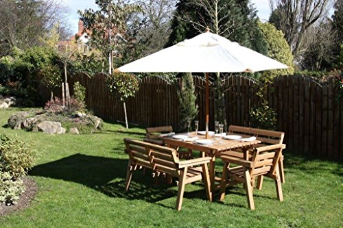 """Wooden Garden Furniture / Patio Set 4ft-6"""" Table, 2 Benches, 2 Chairs Solid Wood"""