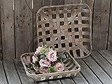 Chic Antique Rattan Tablett Korb Storage Quadratisch Frz. Natur 1 Set Klein/groß