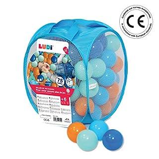 LUDI - Sac de 75 balles multicolores souples en plastique anti-écrasement. A partir de 6 mois. Balles à lancer, faire rouler et pour piscine à balles. Diamètre : 6 cm - réf. 2794 (B008F7XKCA) | Amazon price tracker / tracking, Amazon price history charts, Amazon price watches, Amazon price drop alerts