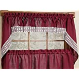 Sweet Home Collection Salem Kitchen Curtain Swag Pair, Burgundy