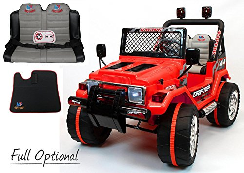 Mondial Toys Auto ELETTRICA 12V Drifter 2 POSTI per Bambini con Telecomando 2.4G Soft Start Full Optional Ross