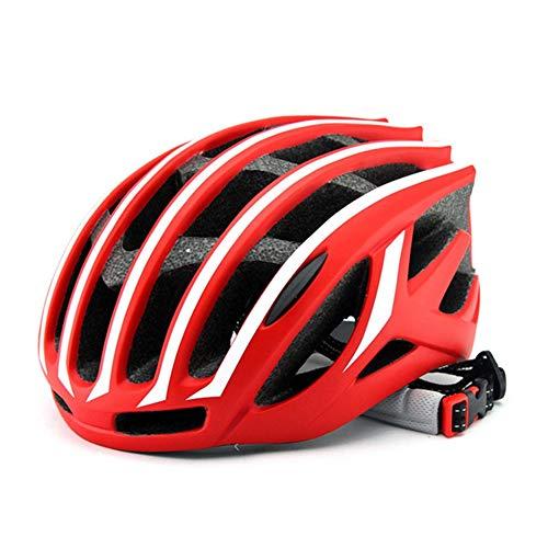 HS-GUANLY Fahrrad Mütze Pneumatische Klapphelm Fahrrad Helm Stoßfeste Ausrüstung Free Code 54-62Cm Atmungsaktive Sicherheitskappe Single Mountain Helm,red
