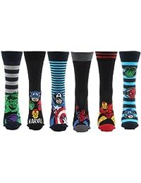 Marvel Comics 6 Pairs of Mens Superhero Socks 6-11